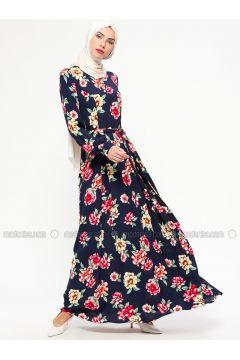 Navy Blue - Floral - Crew neck - Unlined - Viscose - Dresses - MARKESRA(110314796)
