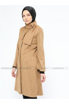 Camel - Unlined - Polo neck - Trench Coat - Mileny(110314038)