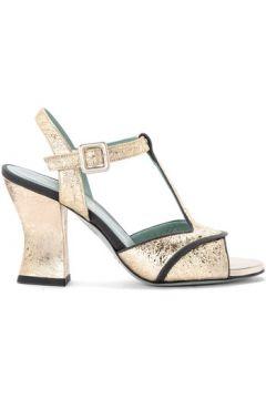 Sandales Paola D\'arcano Sandale à talon modèle Amalia en cuir platiné cracqué(101538323)