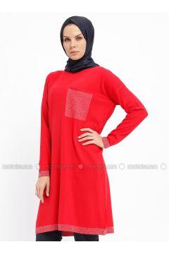 Red - Crew neck - Acrylic -- Tunic - Nefise(110335349)