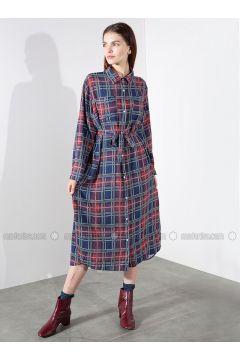 Red - Navy Blue - Plaid - Point Collar - Viscose - Dresses - Akel(110331095)