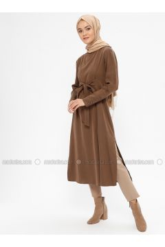 Brown - Polo neck - Tunic - Loreen By Puane(110322522)