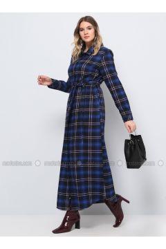 Blue - Navy Blue - Saxe - Plaid - Unlined - Point Collar - Cotton - Plus Size Dress - Alia(110330276)