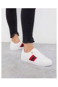 River Island - Sneakers bianche con riga laterale-Bianco(112609056)