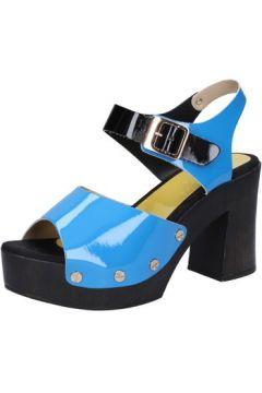 Sandales Suky Brand sandales bleu cuir verni noir AB324(88470049)