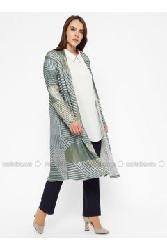 Khaki - Multi -- Plus Size Cardigan - Efraze(110329577)