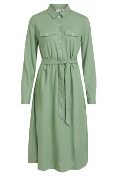 VILA Tie Waist Midi Dress Dames Green(116408850)