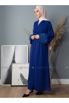 Saxe - Unlined - V neck Collar - Crepe - Abaya - Liolle(110336253)