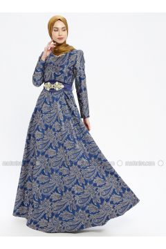 Saxe - Multi - Fully Lined - Crew neck - Muslim Evening Dress - MissGlamour(110320691)