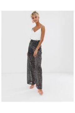 Glamorous - Weitgeschnittene Hose mit Ausbrenner-Animalprint - Schwarz(94827573)