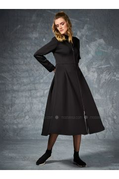 Black - Unlined - Crew neck - Coat - Eda Atalay(110331487)