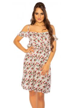 Cold Shoulder Minikleid mit Blüten-Print(111127867)