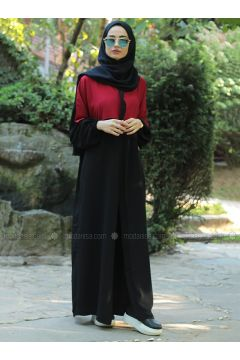 Red - Black - Crew neck - Unlined - Dresses - Fatma Aydın(110318273)