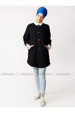 Navy Blue - Fully Lined - Crew neck - Cotton -- Puffer Jackets - Meryem Acar(110327063)