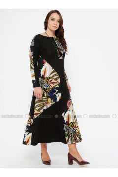 Black - Multi - Unlined - Crew neck - Plus Size Dress - CARİNA(110320297)