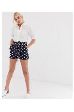QED London - Gepunktete Shorts mit Taillenschnürung in Marineblau - Mehrfarbig(90473013)