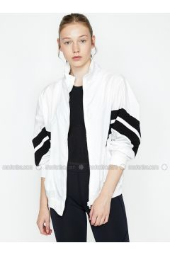 Black - White - Crew neck - Jacket - Koton(110322358)