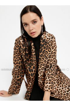 Brown - Leopard - Fully Lined - Shawl Collar - Trench Coat - Pitti Collection(110322755)