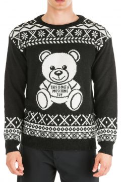 Men's crew neck neckline jumper sweater pullover fire isle teddy bear oversize fit(116936304)