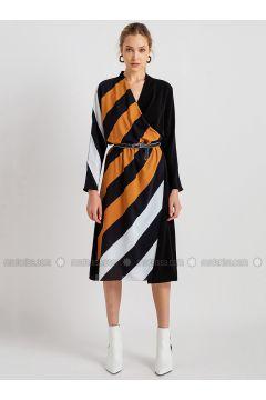 Mustard - Stripe - V neck Collar - Dresses - NG Style(110341232)