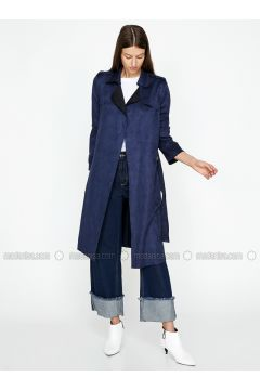 Navy Blue - Shawl Collar - Trench Coat - Koton(110323847)