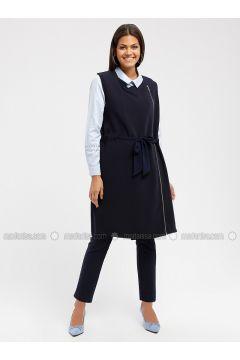 Navy Blue - Unlined - Crew neck - Cotton - Vest - MY MOOD(110339217)
