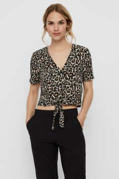 VERO MODA Cropped Geknoopt Overhemd Dames Grijs(116299905)