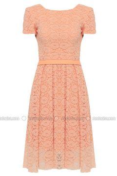 Salmon - Crew neck - Fully Lined - Dresses - DRESSLOVE(110339032)