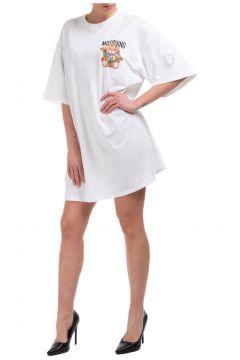 Women's short mini dress short sleeve frame teddy bear(117038842)