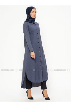Navy Blue - Checkered - Point Collar - Tunic - Piennar(110315339)
