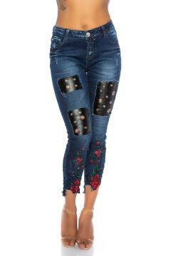 Used Skinny Jeans Midibund mit Blumen Stickerei und Strass(111127849)