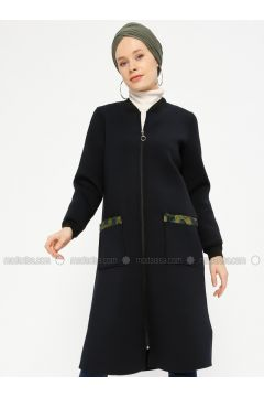 Navy Blue - Unlined - Crew neck - Cotton - Coat - Peramood(110330606)