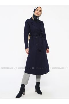Navy Blue - Unlined - Shawl Collar - Trench Coat - Tavin(110330900)