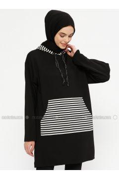 Stripe - Black - White - Sweat-shirt - Meys(110331899)