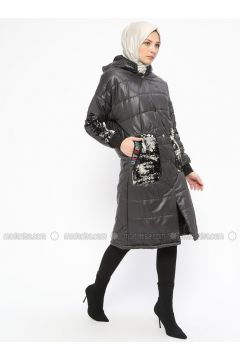 Smoke-coloured - Fully Lined - Crew neck - Puffer Jackets - Mileny(110314007)