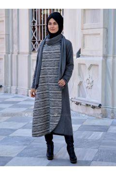 Gray - Multi - Unlined - Wool Blend - Acrylic - Abaya - Henna Elısa(110320045)