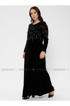 Black - Unlined - Crew neck - Muslim Plus Size Evening Dress - Le Mirage(110337493)