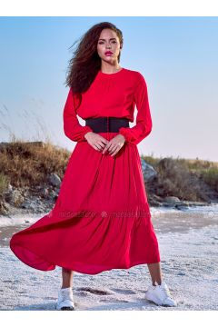 Red - Crew neck - Fully Lined - Dresses - Eda Atalay(110331470)