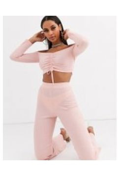 Lasula - Pantaloni da casa a coste rosa in coordinato(112349383)