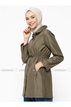 Khaki - Fully Lined - Polo neck - Trench Coat - Dadali(110323034)