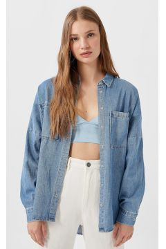 Stradivarius Surchemise denim FEMME Denim moyen XS(112237319)