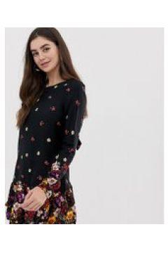 New Look Tall - Bedrucktes Kleid mit geblümtem Besatz - Mehrfarbig(83097001)
