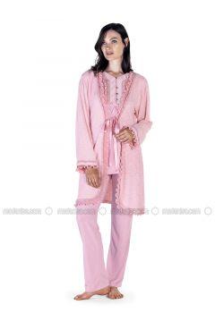 Powder - Crew neck - Cotton - Viscose - Pyjama - Artış Collection(110332893)