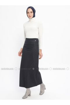Navy Blue - Checkered - Fully Lined - Skirt - Zinet(110335315)