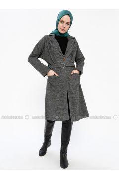 Black - Unlined - Shawl Collar - Coat - İLMEK TRİKO(110336285)