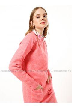 Pink - Polo neck - Acrylic -- Tunic - Dilvin(110327241)