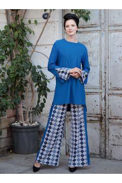Blue - Multi - Unlined -- Suit - Selma Sarı Design(110318940)