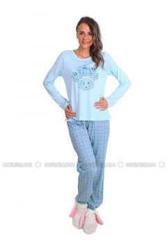 Blue - Crew neck - Multi - Pyjama - Meliana(110314579)
