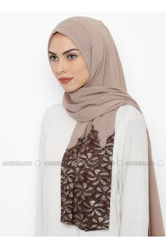 Beige - Plain - Lace - Shawl - İPARHAN DUBAI(110314489)