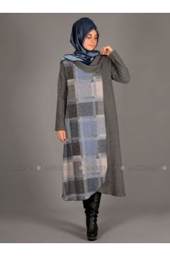 Blue - Gray - Multi - Unlined - Wool Blend - Acrylic - Abaya - Henna Elısa(110320048)